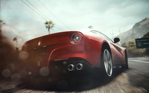 Picture machine, ass, lights, race, dust, skid, Ferrari, Need for Speed Rivals