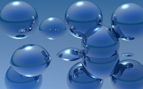 Picture water, reflection, rendering, balls, metallic, sphere, dip, Wallpaper from lolita777