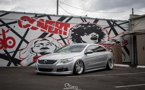 Picture volkswagen, graffiti, tuning, germany, low, stance, passat, street art