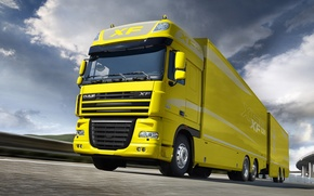 Picture Truck, Yellow, Yellow, Truck, The trailer, DAF, Ixef, 105, DAF