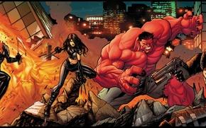 Picture weapons, fire, Ghost Rider, Ghost rider, Venom, Red Hulk, X-23, venom, red Hulk