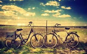 Picture greens, the sky, grass, clouds, nature, bike, background, mesh, widescreen, Wallpaper, mood, the fence, wire, …
