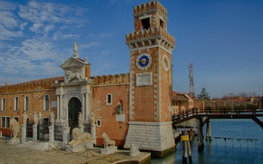 Picture watch, tower, Italy, Venice, Arsenal