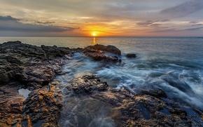 Picture sea, the sky, the sun, clouds, sunset, stones, rocks