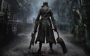 Picture The city, Blood, Weapons, Cloak, Hunter, PlayStation 4, PS4, 2015, From Software, Bloodborne
