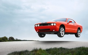 Picture Auto, Machine, Speed, Orange, Dodge, SRT8, Challenger, in the air, Flies