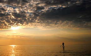 Picture sea, clouds, overcast, sport, minimalism, the evening, male, paddle, SUP
