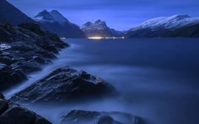 Picture water, night, lights, fog, stones, rocks, pond