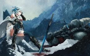 Picture snow, Anime, swords, fetti