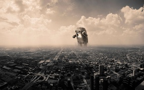 Wallpaper monster, clouds, The city