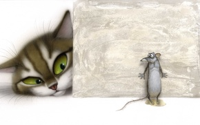 Picture cat, the situation, mouse, art, children, Vladimir Stakheev