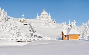 Picture winter, snow, landscape, Belogorsky Saint Nikolaev monastery