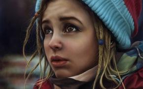 Picture look, girl, face, hat, piercing, art, dreadlocks