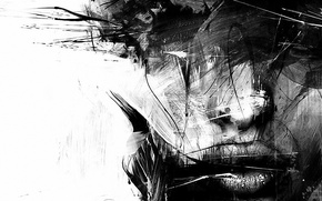 Picture portrait, strokes, a blurry face