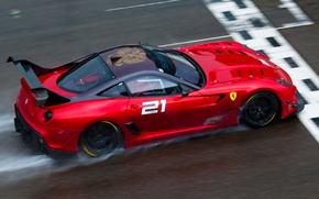 Picture red, race, Ferrari, red, Ferrari, track, 599, rain, race, finish, back, 599XX evo, finish