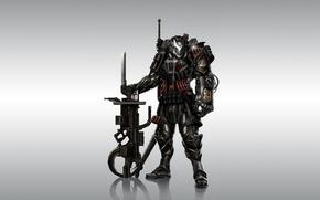 Picture weapons, background, warrior, armor, Warhammer, 40k, fan art, Winged Skull