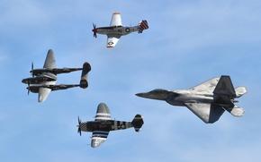 Picture flight, Mustang, P-51, Lightning, Thunderbolt, F-22 Raptor, P-38, P47