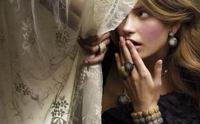 Wallpaper necklace, girl, bracelet, ear ring, curtain, ring