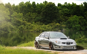 Picture forest, river, tuning, view, before, turbo, wheels, subaru, japan, wrx, impreza, jdm, tuning, power, front, …