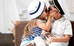 Picture children, tenderness, kiss, hat, boy, glasses, girl, girl, friends, kiss, boy, friends, children