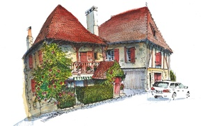 Wallpaper the city, house, paint, figure, France, car, Gagnac-Sur-Cere