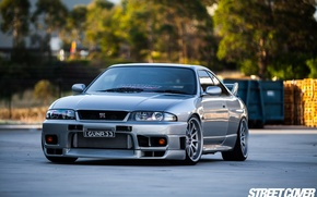 Picture nissan, turbo, wheels, skyline, jdm, tuning, gtr, front, face, r33, nismo