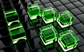 Picture glass, green, cubes