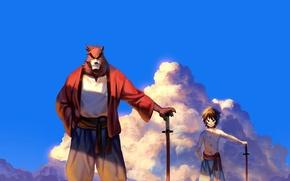 Picture cinema, sword, bear, blue, anime, cloud, katana, boy, movie, ken, animal, asian, film, pose, God, ...