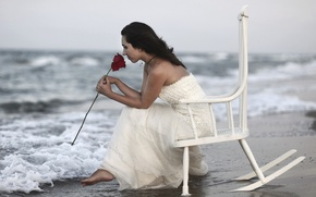 Picture sea, girl, rose, chair