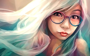 Picture glasses, face, girl, art