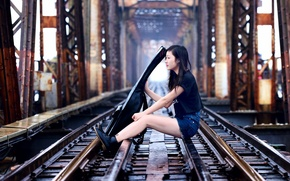 Picture girl, bridge, music, guitar, railroad, Asian