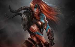 Picture girl, art, red, coloring, muscles, Diablo III, barbarian, Barbarian, Reaper of Souls