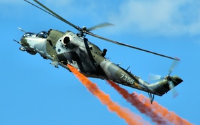 Picture flight, helicopter, combat, Mi-24