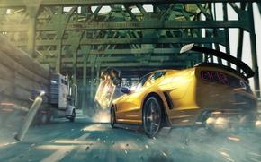 Picture crash, machine, bridge, danger, speed, Mustang, Ford, art, logs