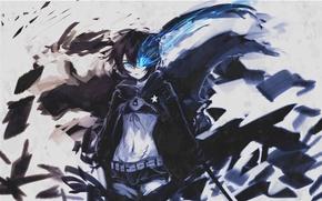Picture black hair, blue flame, insane black rock shooter, Black rock shooter