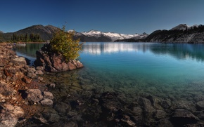 Picture stones, the sky, snow, tree, mountains, slope, trees, lake, water, Canada, landscape, rocks, Garibaldi, forest