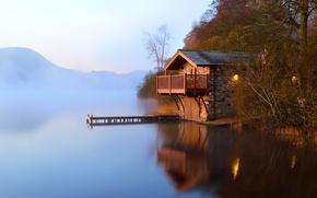 Wallpaper autumn, fog, lake, dawn, pier, the barn