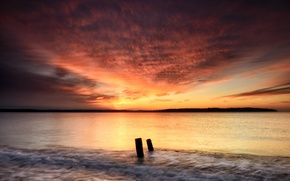 Picture sea, the sky, clouds, dawn, shore, Morning, Bay