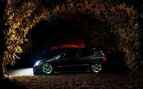 Picture night, black, tuning, volkswagen golf