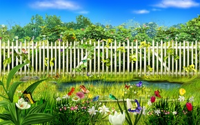 Wallpaper flowers, grass, the fence, water, butterfly