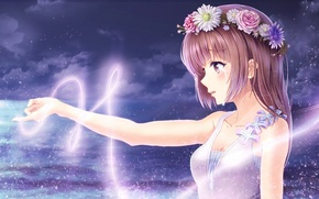 Picture the sky, girl, clouds, flowers, night, magic, anime, tears, art, wreath, alc