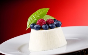 Picture raspberry, food, blueberries, cream, dessert, blueberry, cream, dessert, raspberry