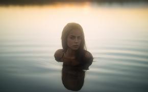 Picture colors, light, girl, summer, sea, eyes, water, beautiful, model, sundown, beauty, bokeh, germany, foggy, portrait, …