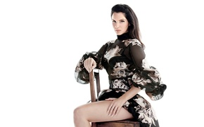 Picture look, makeup, dress, brunette, hairstyle, photographer, white background, singer, posing, on the chair, sitting, Lana …
