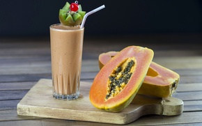 Wallpaper glass, drink, smoothies, papaya