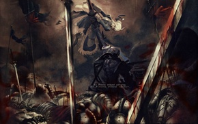 Picture weapons, blood, armor, flags, the battle, battlefield, Saber, Fate Zero