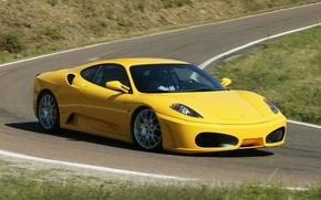 Picture road, yellow, turn, Ferrari, F430, Ferrari, supercar, the front