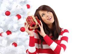Picture girl, balls, toys, tree, new year, brunette, bow, holidays, sweater, Christmas, gift. red