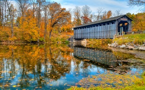 Picture autumn, bridge, nature, river