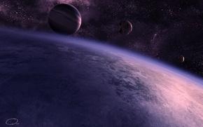 Picture planet, stars, QAuZ, art, satellite, space, the atmosphere